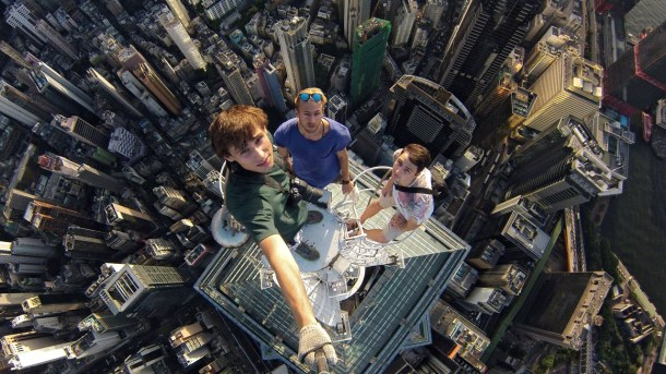 Extreme Selfie On Top Of Hong Kong